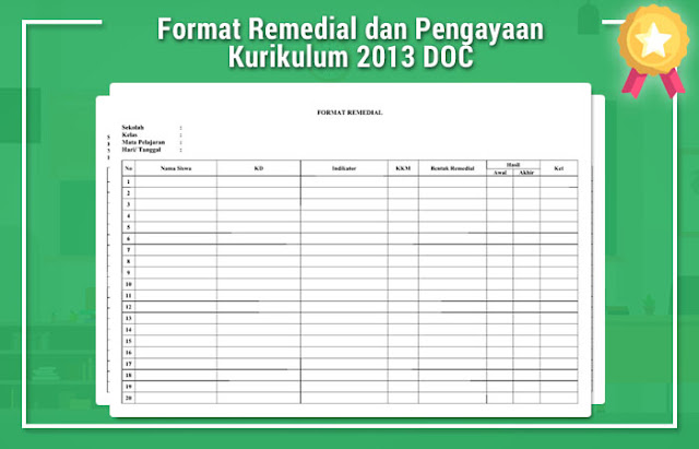 Format Remedial dan Pengayaan Kurikulum 2013 DOC