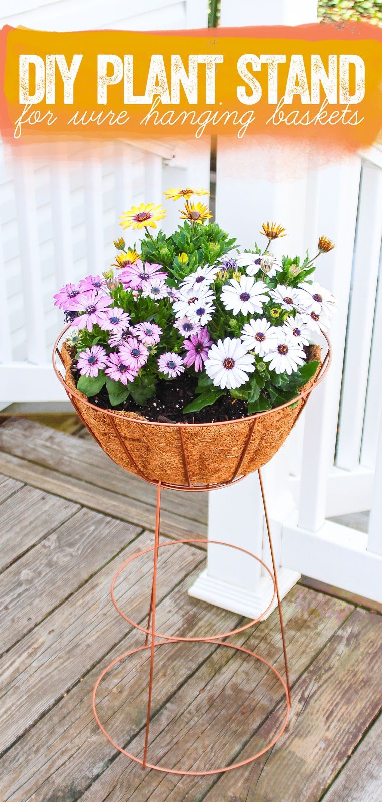 DIY wire hanging basket plant stand for planting spring flowers