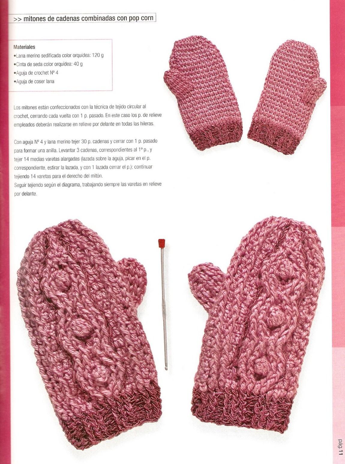 SOLO PUNTOS: Mitones crochet