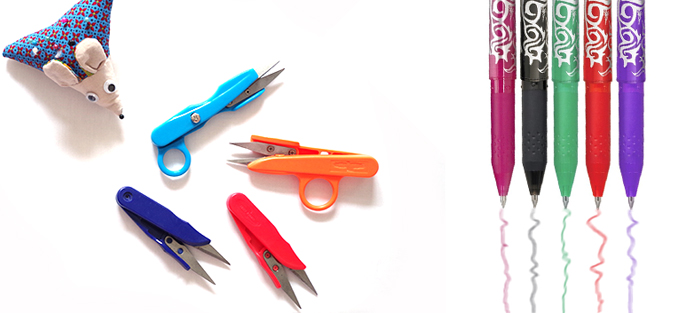 Acerico ratón, cortahilos y bolígrafos que se borran con la plancha