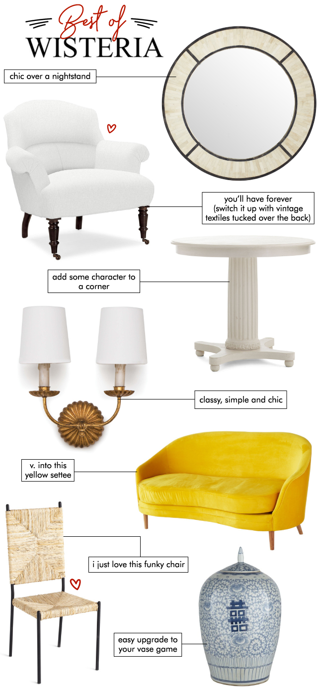... Table // Sconce // Yellow Sofa // Woven High Back Chair // Blue And  White Jar // Tiered Console // Black Lamp // Green Bone Garden Stool //  Wood S Table ...
