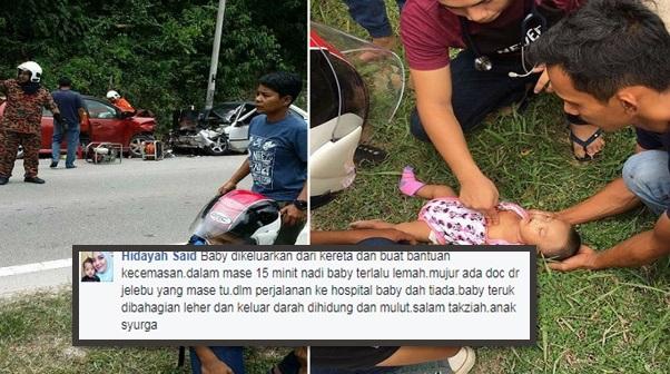 Baby Sumayyah dah tak ada .. Pendarahan mulut hidung impak kemalangan (8Gambar)