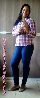 look camisa xadrez e calça jeans
