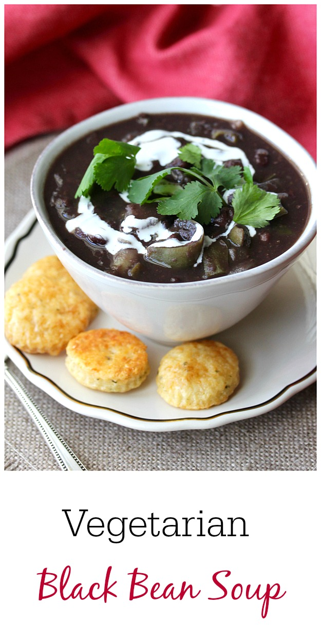 Bowl of Cuban-Style Black Bean Soup with crackers