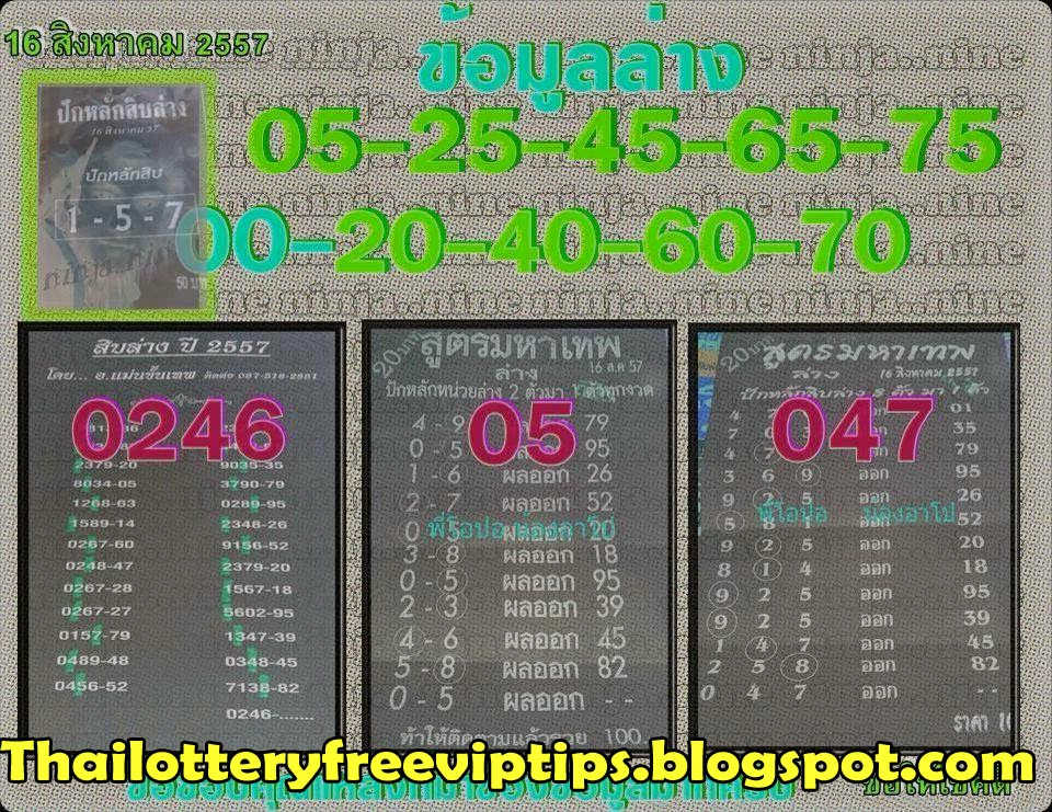 Thai Lottery Down Game Tricky Paper 16-08-2014