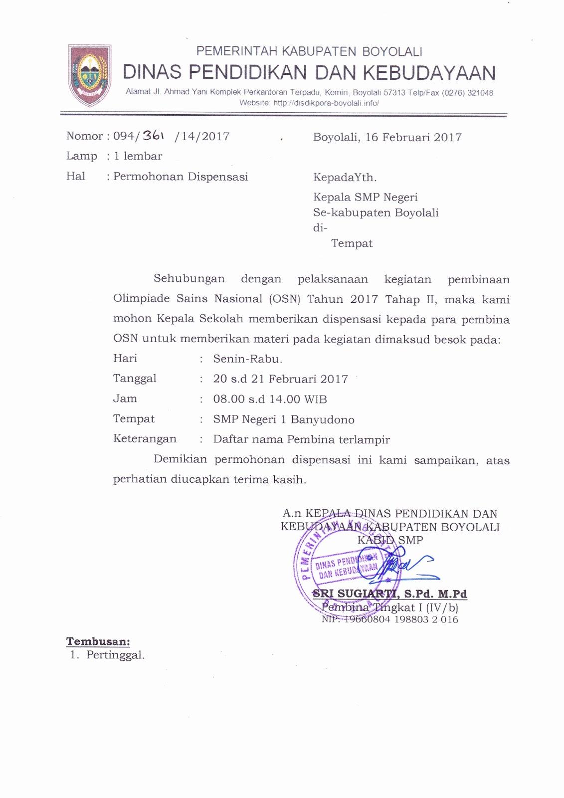 Surat Dispensasi Ujian Roitipulchladbcon