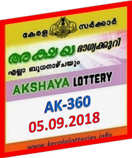 kerala lottery result from keralalotteries.info 05/09/2018, kerala lottery result 05-09-2018, kerala lottery results 05-09-2018, AKSHAYA lottery AK 360 results 05-09-2018, AKSHAYA lottery AK 360, live AKSHAYA   lottery AK-360, ,   AKSHAYA lottery results today, kerala lottery AKSHAYA today result,