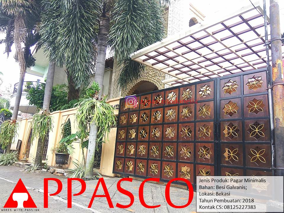 Pagar Minimalis Besi Galvanis Rumah Mewah di Bekasi