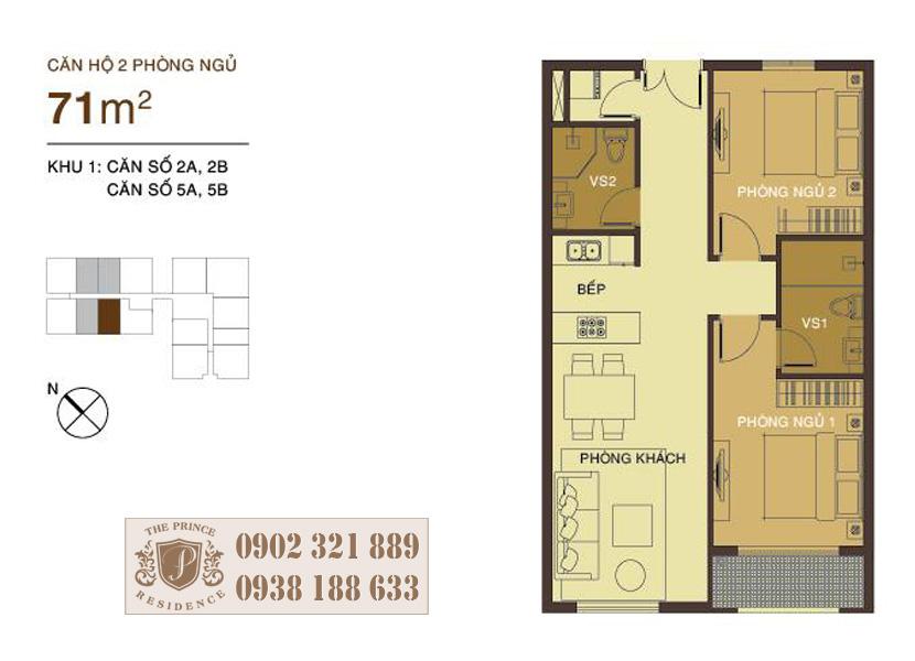 layout căn hộ 71m2 tại The Prince Phú Nhuận
