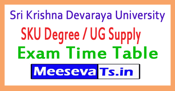 Sri Krishna Devaraya University SKU Degree / UG Supply Exam Time Table