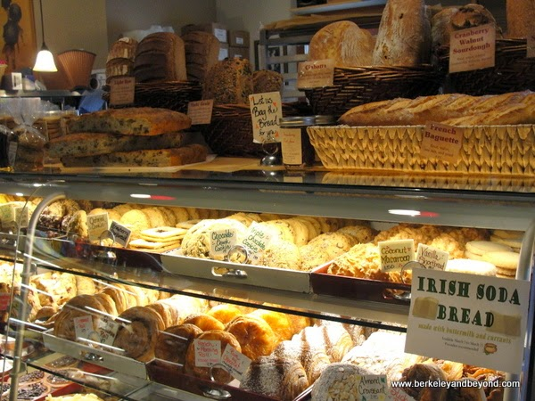 pastry case in Andrae's Bakery in Amador City, California