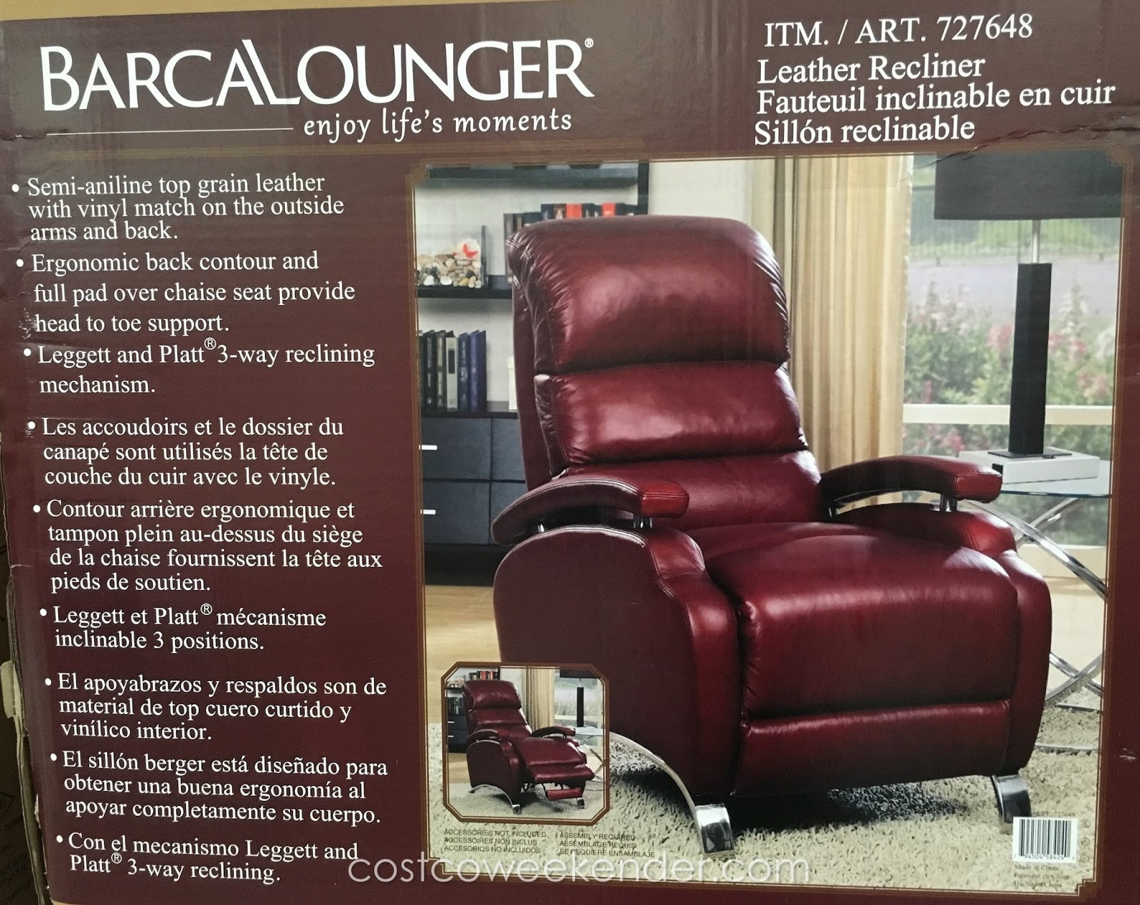Barcalounger Leather Recliner Chair Costco Weekender