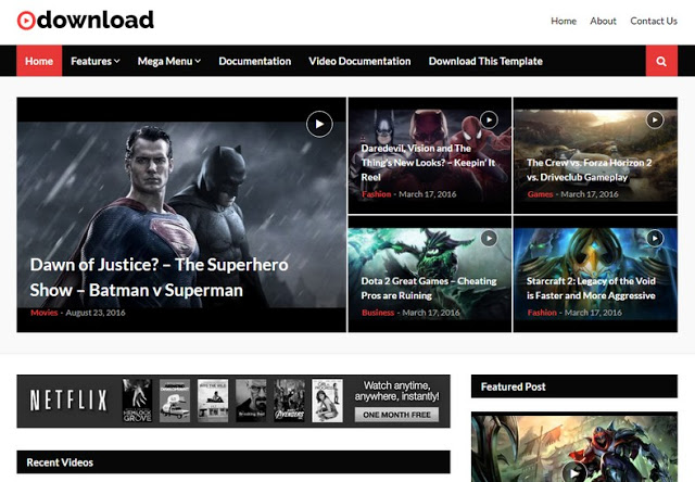Video Download Blogger Template - Giao diện website chia sẻ video tuyệt vời