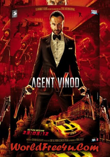 Poster Of Agent Vinod (2012) Full HD Hindi Movie Trailer Download Watch Online At worldofree.co