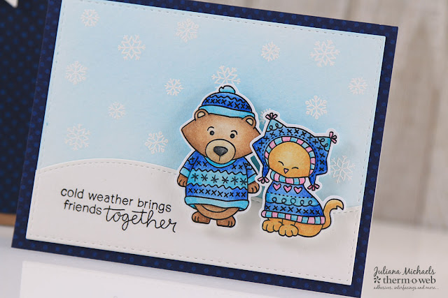 Dimensional Die Cut using Therm O Web 3D Foam Squares by Juliana Michaels | Newton's Nook Sweater Weather Stamps and Dies