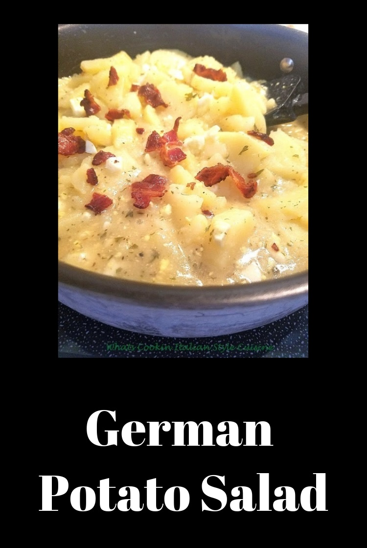 Potatoes, vinegar, bacon salad in a bowl with spices and a perfect side dish german potato salad is a classic dish and this is the best recipe