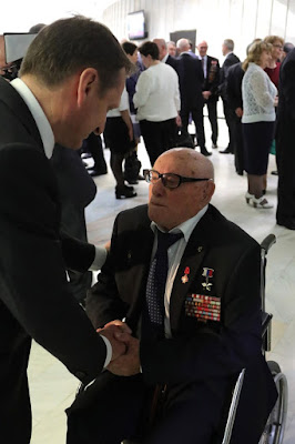 Director of the Foreign Intelligence Service (SVR) Sergei Naryshkin with Soviet intelligence officer, Hero of Russia Alexei Botyan at the gala event marking the 95th anniversary of Russian illegal intelligence at SVR headquarters.