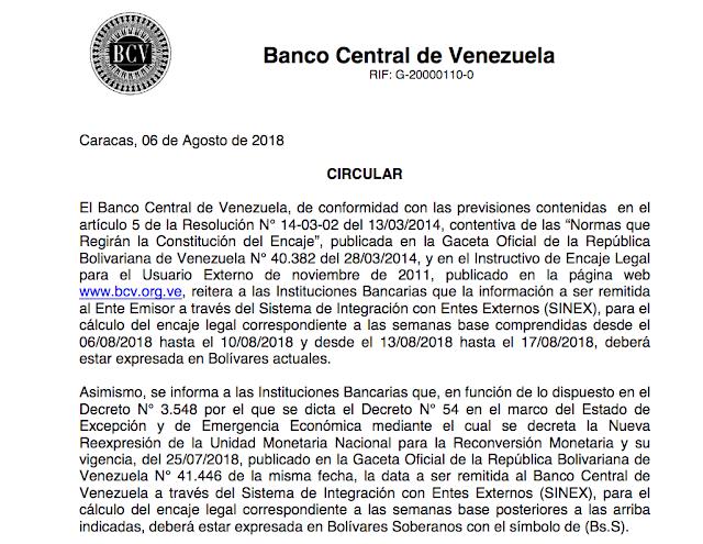 BCV aclaró lo que ocurrirá con el encaje legal tras reconversión monetaria