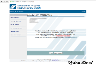 Filing Your SSS Online Salary Loan Application :)) | ©johanDee/