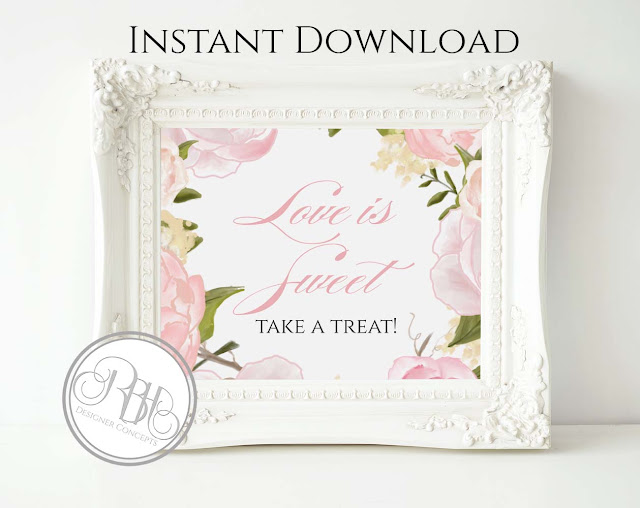 Dusty Pink Peonies, Roses, Wedding, Dessert Bar Sign, template
