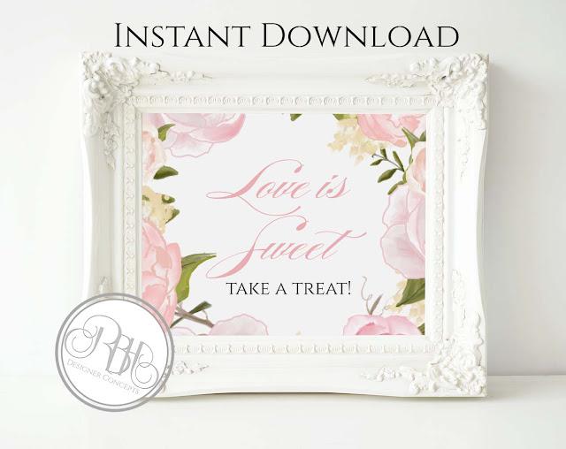 Dusty Pink Peonies, Roses, Wedding, Dessert Bar Sign, template