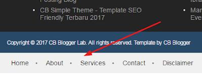 menu navegação footer blogger