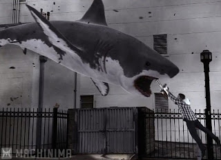Sharknado shark chainsaw climax