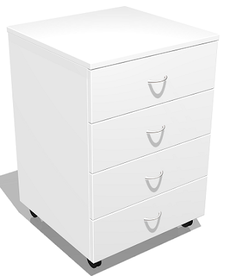 mobile pedestal, four drawers, white