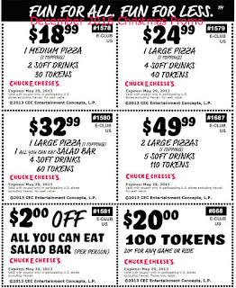 free Chuck E Cheese coupons december 2016