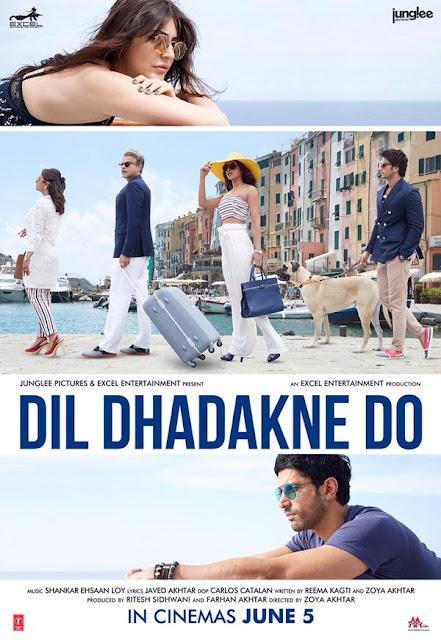 Dil Dhadakne Do (2015), Movie Poster, Directed by Zoya Akhtar, starring Anil Kapoor, Priyanka Chopra, Ranveer Singh, Anushka Sharma, Rahul Bose, Shefali Shah, and Farhan Akhtar