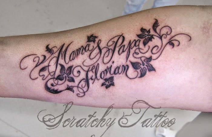 frisch schriftzug gestochenes tattoo