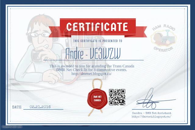 VE3WZW Andre 2016 DMR CANADA NET Certificate