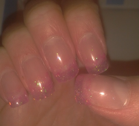 Sharon S Nail Art Clear Sculpted Gel Nails With Pink Glitter