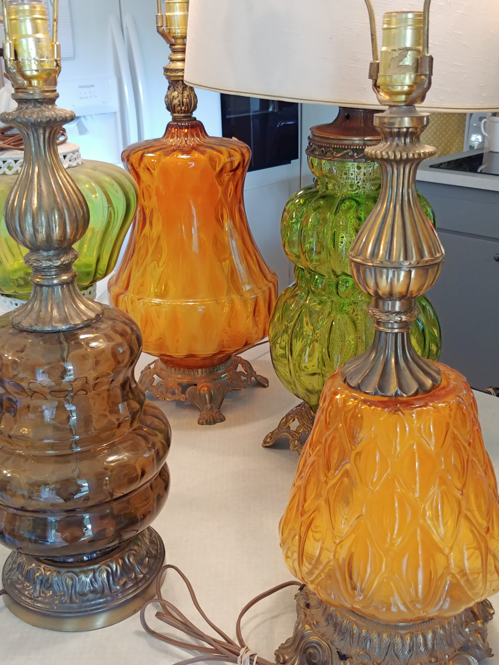 Vintage lamps with colored glass globes