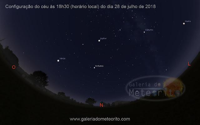4 planetas visiveis a olho nu no céu em 2018 - Venus Jupiter Saturno e Marte