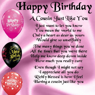 cousin poem happy birthday