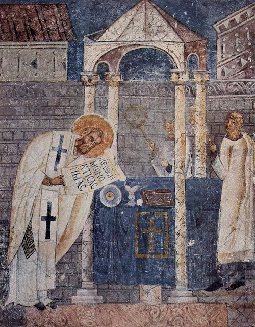 Fresco of Basil the Great (Vasileios) in the cathedral of Ohrid.