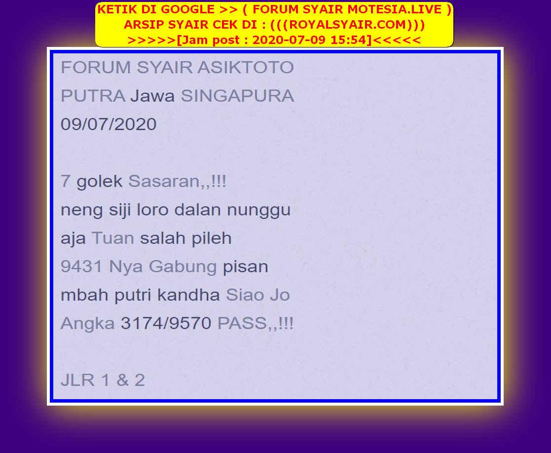 Kode syair Singapore Kamis 9 Juli 2020 27