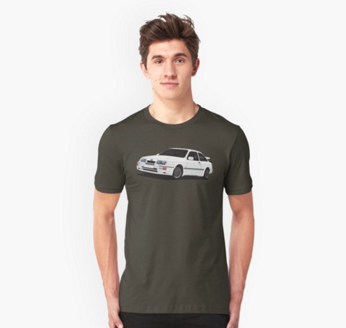 Ford Sierra RS500 Cosworth automobile t-shirts