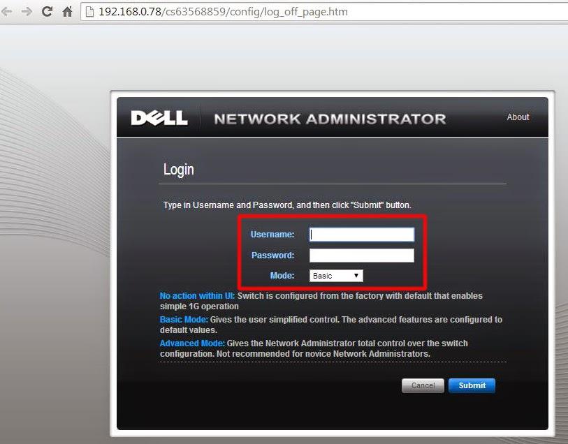 Network Administratro ventana de Login