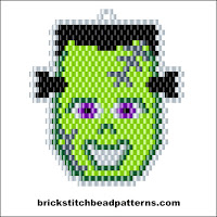 Click to view the Frankenstein Monster Face Halloween brick stitch bead pattern charts.