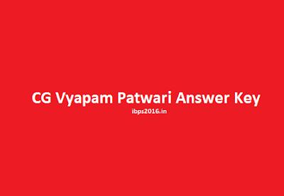 CG Vyapam Patwari Answer Key 2016