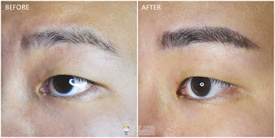 Immediate result after first Korean Eyebrow Embroidery with Ivy Brow Design (left eye)