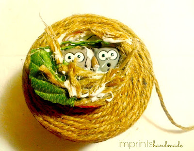 Burlap kids craft project +DIY owl nest fridge magnets