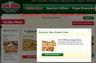 Papa Joes Pizza coupons for december 2016