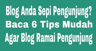 Blog Anda Sepi Pengunjung? Baca 6 Tips Mudah Agar Blog Ramai pengunjung