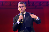 French President Emmanuel Macron gestures as he delivers a speech to entrepreneurs at a convention centre in Lagos, Nigeria, July 4, 2018. (Credit: Ludovic Marin/Pool via Reuters) Click to Enlarge.
