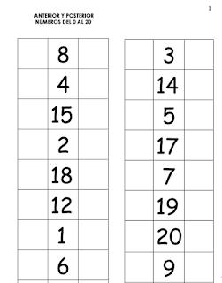 ANTERIOR Y POSTERIOR DEL 0 AL 20