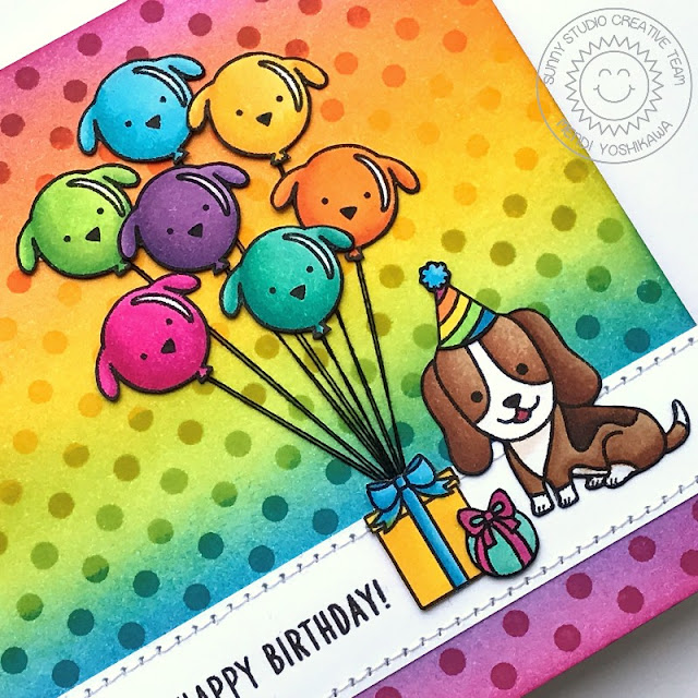 Sunny Studio Stamps: Party Pups Rainbow Polka-dot Puppy Dog Birthday Card by Mendi Yoshikawa