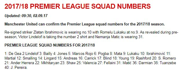 Daftar Pemain Nomor Punggung Manchester United Liga Inggris 2017-2018